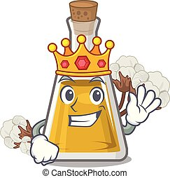 King cottonseed oil at the cartoon table vector illustration