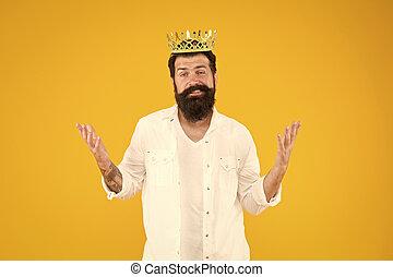 King crown. Egoist selfish man. Bearded man in white clothes...