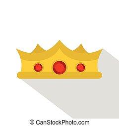 King crown icon, flat style