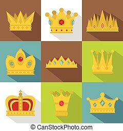 King crown icon set, flat style