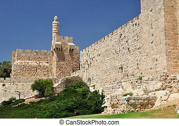 King David citadel. - Old Jerusalem wall with King David ...