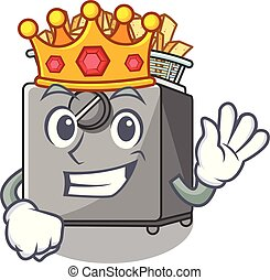 King deep fryer machine isolated on mascot vector...