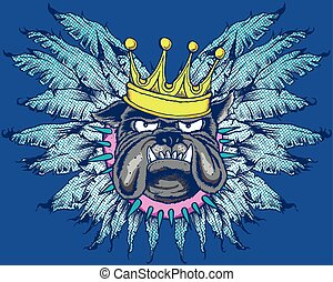 KING DOG WITH WINGS - Pop art style bulldog with feathered...