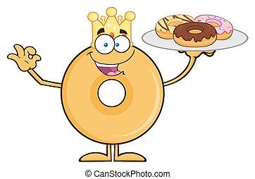 King Donut Character Serving Donuts - King Donut Cartoon...