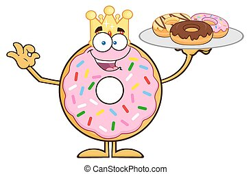 King Donut Character Serving Donuts