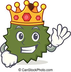 King Durian mascot cartoon style