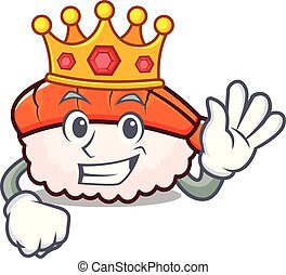 King ebi sushi mascot cartoon