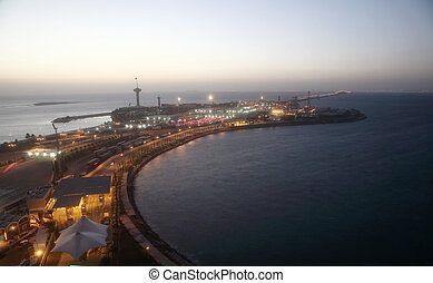 King Fahd Causeway over the Gulf of Bahrain between Kingdom...