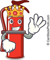 King fire extinguisher mascot cartoon