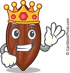 King fresh pecan nuts isolated on mascot vector illustration