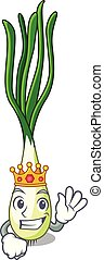 King fresh scallion isolated on the mascot vector...