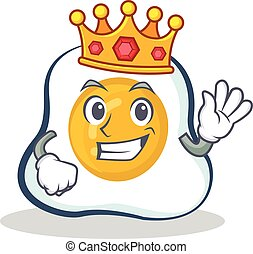King fried egg character cartoon