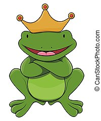King frog cartoon illustration