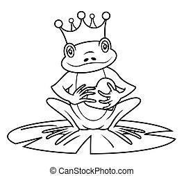 king frog cartoon vector