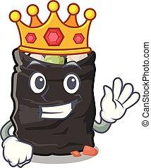 King garbage bag behind the character door