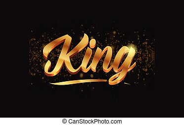 king gold word text with sparkle