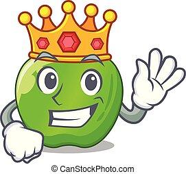 King green smith apple isolated on cartoon