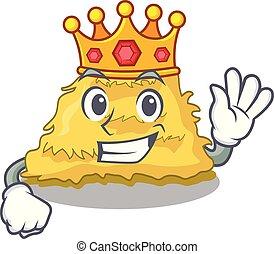 King hay bale mascot cartoon vector illustration