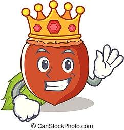 King hazelnut mascot cartoon style