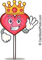 King heart lollipop mascot cartoon vector illustration