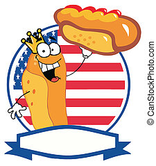 King Hot Dog Holding Up A Garnished Hot Dog Over An American...