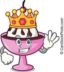 King ice cream sundae mascot cartoon vector illustration