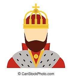 King icon, flat style