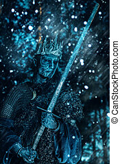 king in medieval armor - The king of the dead warriors in...