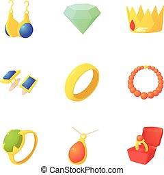 King jewelry icons set, cartoon style