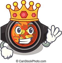 King kimchi tighe above the cartoon table vector...