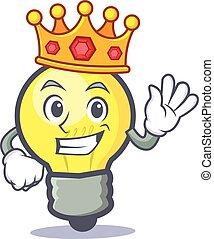 King light bulb character cartoon