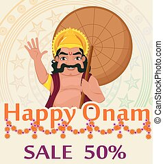King Mahabali. Happy Onam festival in Kerala. Poster with...