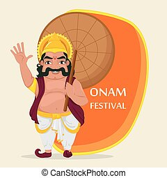 King Mahabali. Happy Onam festival in Kerala. Vector...