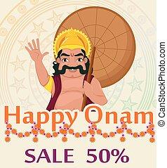King Mahabali. Happy Onam festival in Kerala.