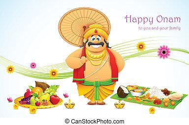 King Mahabali in Onam background - illustration of King...