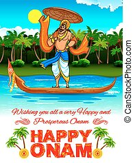 King Mahabali in Onam background showing culture of Kerala -...