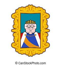 king., manto, persona., real, crown., monarca, retrato, héroe, caricatura