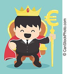 King of businessman with silver euro symbol