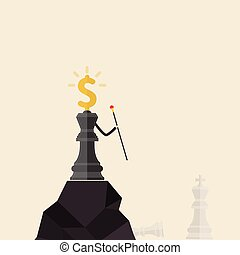 King of chess and Dollars icon stand on the top of mountain and hold the scepter in his hand. Concept of Business success or leadership. Chess concept save the king and save the strategy. Business strategy concept. Vector flat design illustration