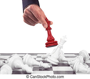 King of chess - Pawn chess red drops the white pawns