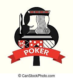 king of club card poker ribbon symbol