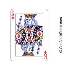 King of diamonds playing card with isolated on white