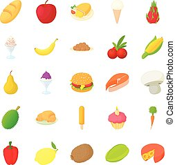 King of fruit icons set, cartoon style