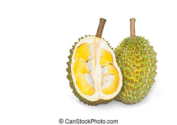 durian - King of fruits, durian isolated on white background...
