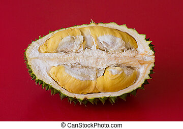 King of fruits, durian on red background. Close up