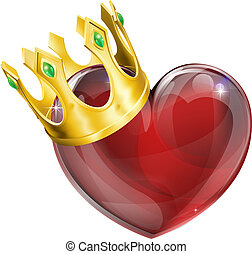 Illustration of a heart symbol wearing a crown, king of hearts concept