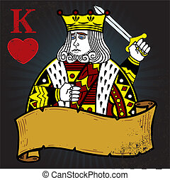 King of Hearts with banner tattoo style illustration. All...