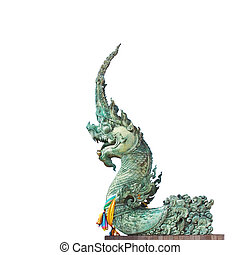 King of naga statue isolated