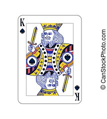 King of spades playing card with isolated on white