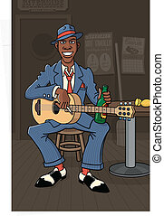 King of the Delta Blues - A nameless bluesman plays guitar ...